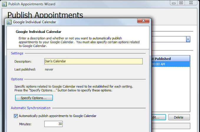 publish to Google appointment
