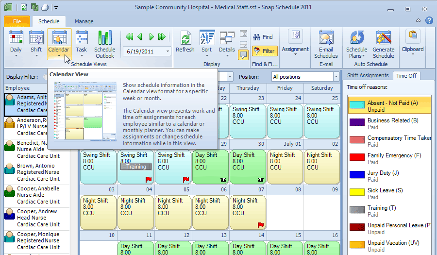 Snap Schedule Employee Scheduling User Interface