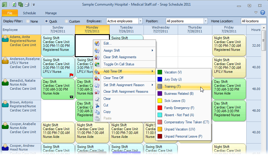 Context sensitive menus in Snap Schedule