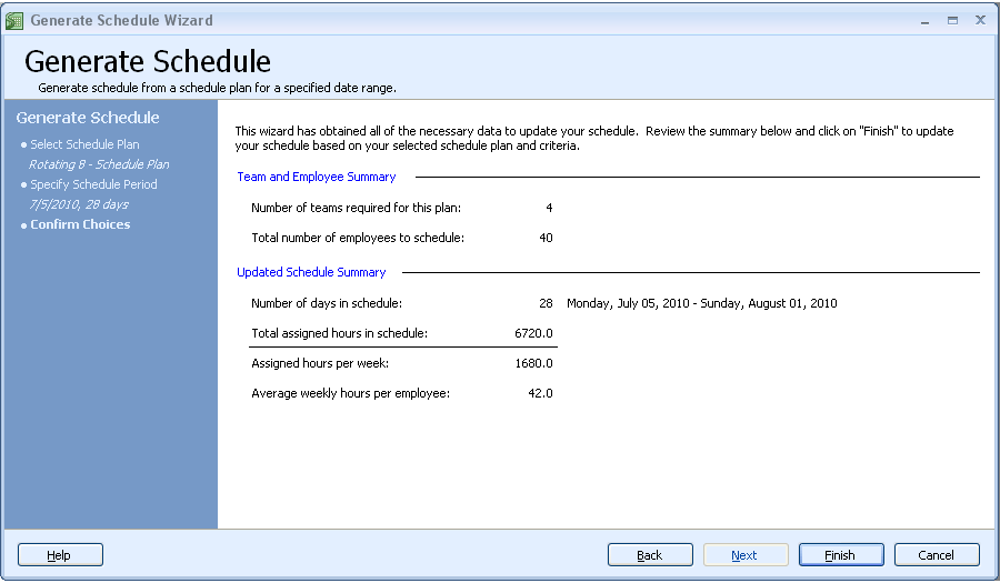 Auto generate work schedules step 3