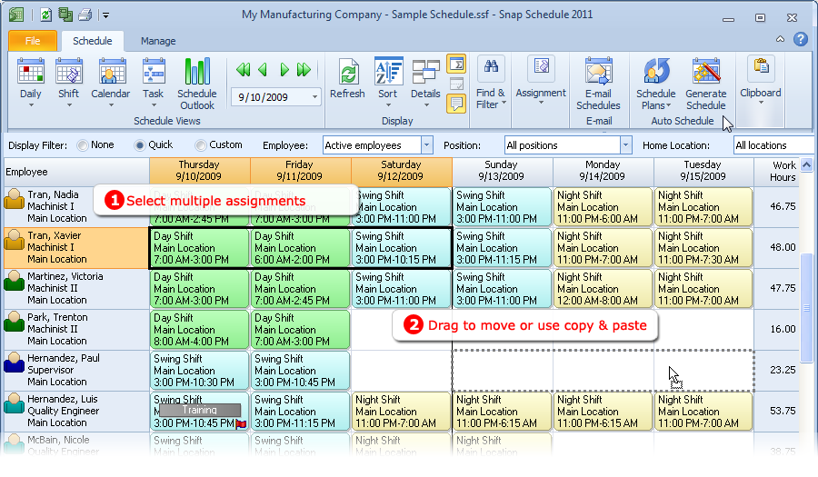Moving shift assignments in Snap Schedule Employee Scheduling Software