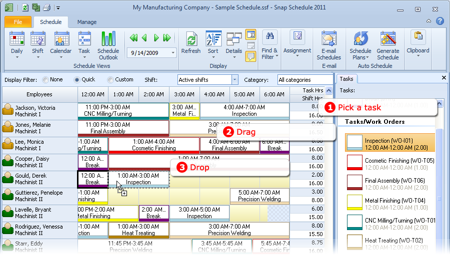 Asssign tasks in Snap Schedule Employee Scheduling Software