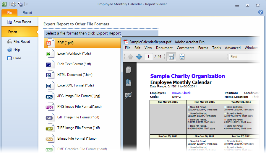 Publish work schedules in PDF
