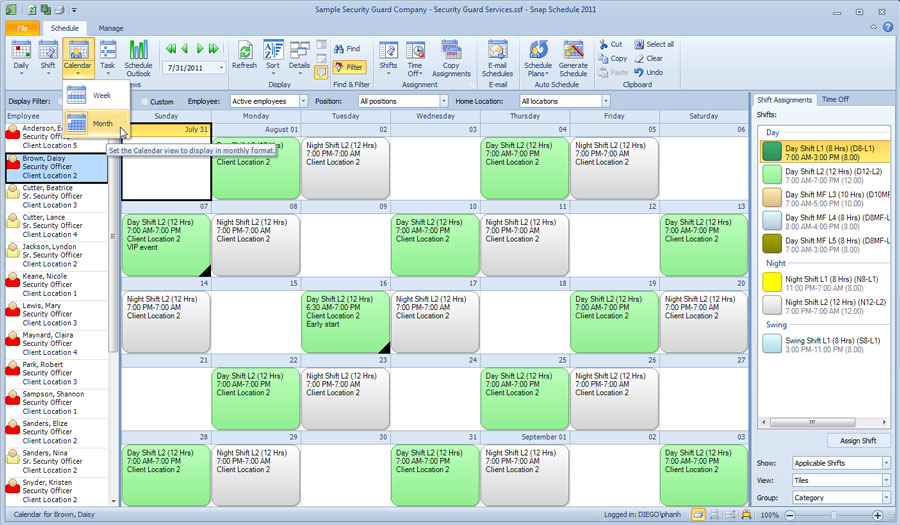 Calendar View in Snap Schedule Employee Scheduling Software