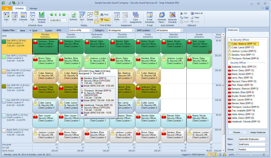 Daily View by Shift in Snap Schedule Employee Scheduling Software