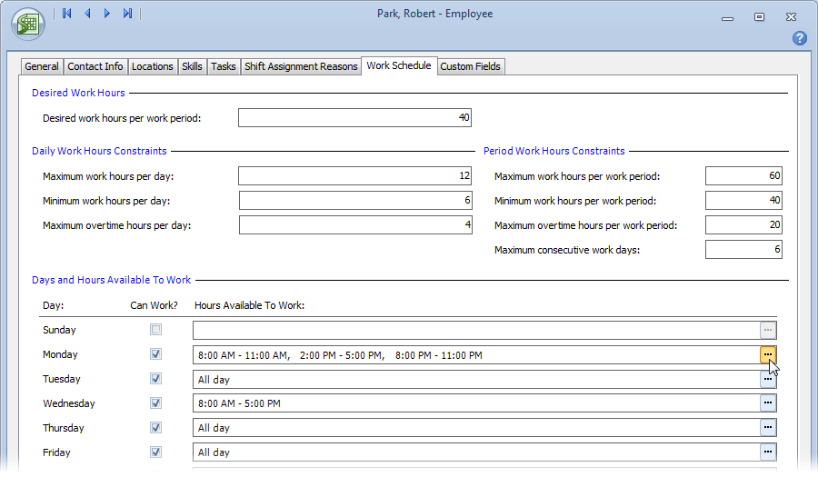 Schedules based on employee availability