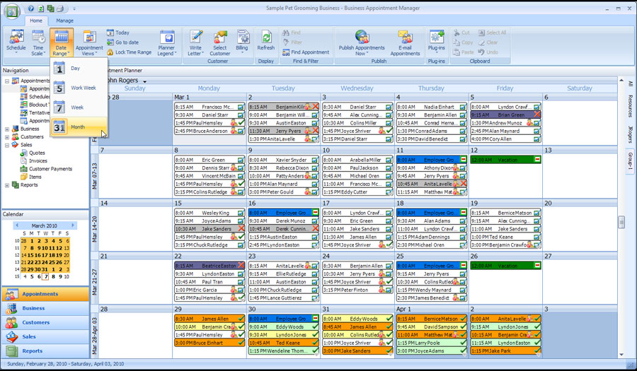 appointment software month view
