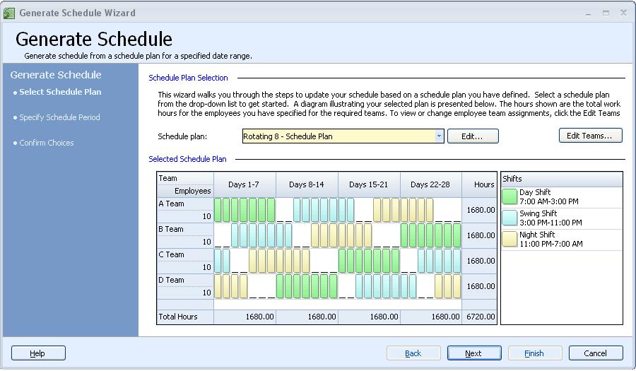 Auto generate work schedules step 1