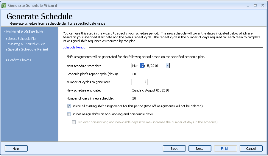 Auto generate work schedules step 2