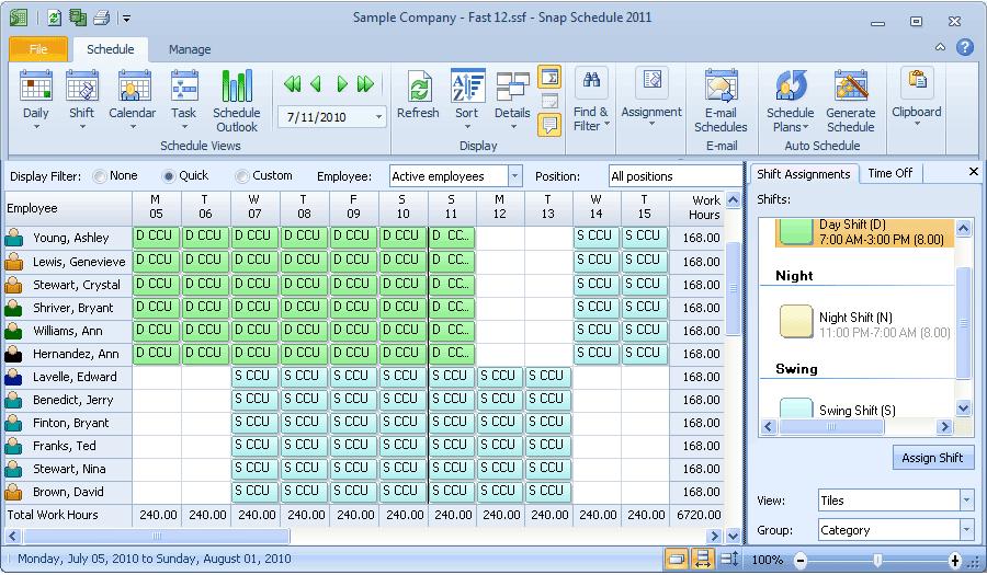 Auto generated work schedules