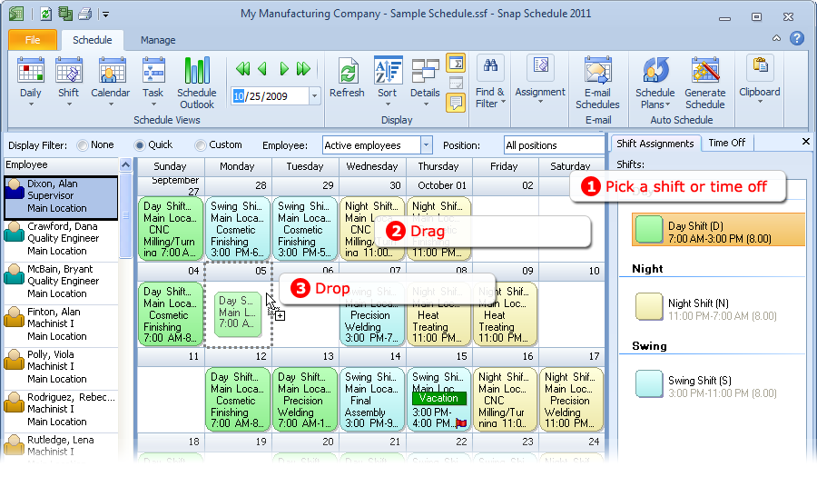 Drag and drop a shift in Calendar View