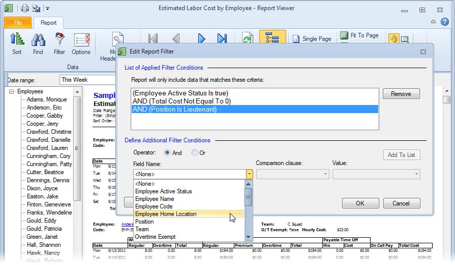 Filter report data in Snap Schedule