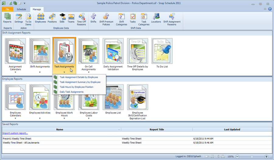 Report viewer in Snap Schedule Employee Scheduling Software