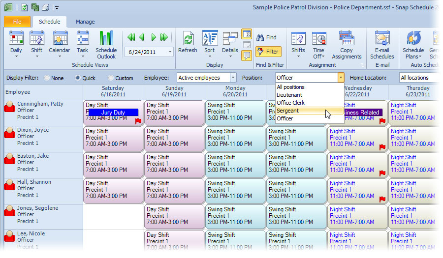 Filter data schown in Snap Schedule Employee Scheduling Software