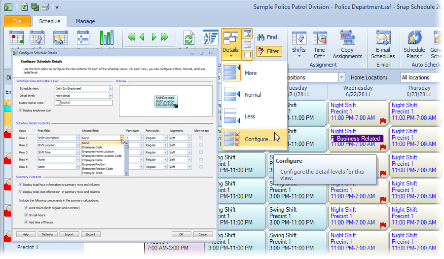 Configureable views in Snap Schedule Employee Scheduling Software