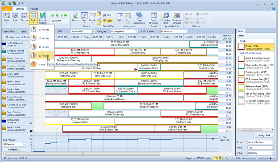 Task View in Snap Schedule Employee Scheduling Software